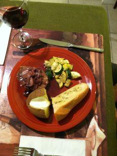 Steak with Burgundy Mushroom Sauce and Sesame Parmesan Zucchini