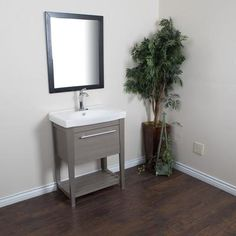 Bellaterra - 27.5 In Single Sink Vanity In Taupe with Ceramic Top in White - 804353-GY - Home Depot Canada