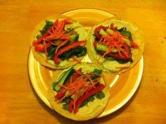 Green Goodness Wraps!  Kickin' It Clean goddess, Amy Brook's made these beauties today.  Recipe:  2 cups mixed greens  2 corn tortillas  2 Tbsp. balsamic vinegar  1/4 cup hummus  1/4 cup shredded carrots  1/4 cup shredded beets    Mix the greens and vinegar in a bowl. Spread layer of hummus on tortilla. Add greens and toss on the carrots & beets. Wrap it up!