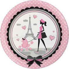 "Party Creations Party in Paris Dinner Plate, 9"", 8 Ct"