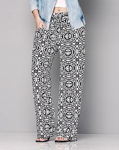 Print Wide Leg Jersey Trousers - Reg | Simply Be
