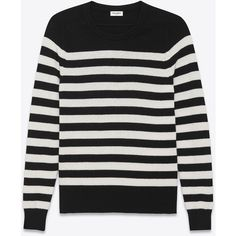 Saint Laurent Boyfriend Sweater ($1,060) ❤ liked on Polyvore featuring tops, sweaters, cashmere boyfriend sweater, striped sweater, over sized sweaters, oversized tops and stripe top