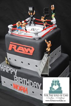 WWE Raw Wrestling cake Toronto - This birthday cake was for a little boy in Toronto who love WWE wrestling.