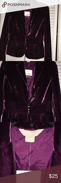 Purple velvet blazer Beautiful purple velvet blazer. NWT. Size 6 Jackets & Coats Blazers