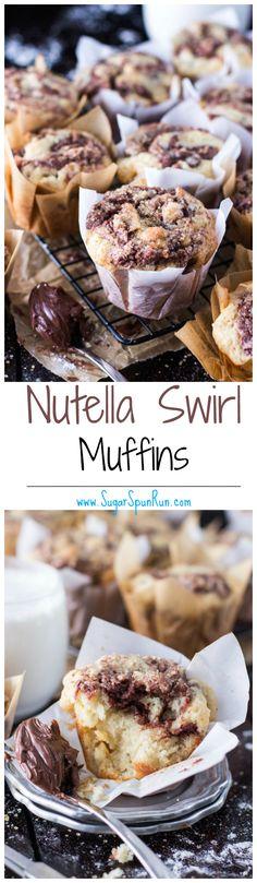 Fluffy Nutella Swirl Muffins -- SugarSpunRun