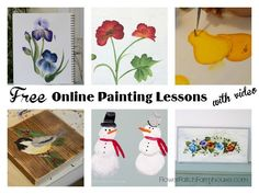 Free Online Painting Lessons, come learn to paint with me. We have roses, iris, birds, snowmen and more! FlowerPatchFarmhouse.com