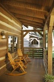 Heavy timber porch with chinking