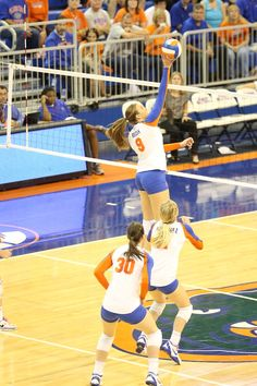 Florida Volleyball's Ziva Recek spikes the ball against Georgia