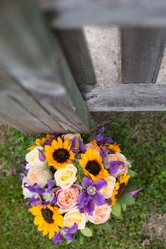 purple, yellow, pink and cream wedding bouquet