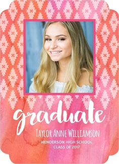 Pink Watercolor Aztec Pattern Graduation Announcement from PurpleTrail  #PinkGraduationAnnouncements #PinkGraduationInvitations #BohoGraduationAnnouncements #Graduation2017 #GraduationAnnouncements #PhotoGraduationAnnouncements