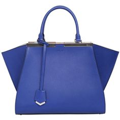 FENDI Mini 3jours Two Tone Leather Top Handle featuring polyvore, fashion, bags, handbags, blue handbags, genuine leather purse, mini purse, blue purse and genuine leather handbags