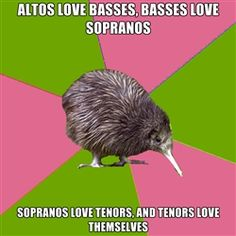 SOOOO not true! Sopranos love basses and altos hate basses because they're jealous that they can sing lower than them.  And Sopranos are the ones that love themselves.