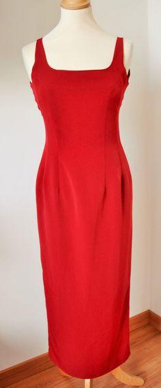 Super Elegant Vintage 80s Dark Red Sheath Evening Dress Cross Back Size 6-8 UK