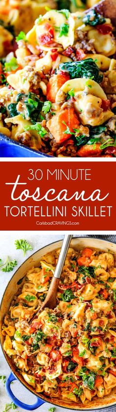 30 Minute Creamy Tortellini Toscana bursting with cheesy tortellini, Italian sausage, sweet potatoes, spinach and bacon in a luscious Parmesan cream sauce all made in one skillet in under 30 minutes! via @carlsbadcraving