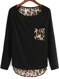 To find out about the Black Round Neck Leopard Punk Comfortable Halloween Eve Sexey Dip Hem T-Shirt at SHEIN, part of our latest T-Shirts ready to shop online today! Sexy T Shirt, Rosa T Shirt, Shirt Diy, Refashion, Blouse Designs, T Shirts, Plus Size, My Style, Long Sleeve