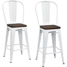 "Dorel Home Products Luxor 24"" Metal Counter Stool with Wood Seat, Set of 2, Multiple Colors"