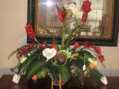Tropical Red and white  Custom Silk  Floral Arrangement @theFloralGallery