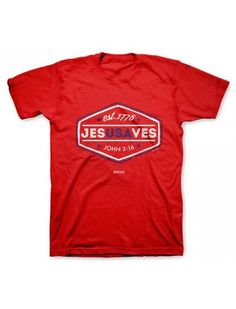 Small - 2X Christian Red Jesus Saves T-Shirt - JTbliss