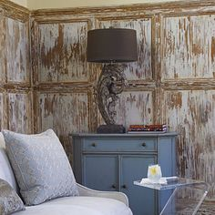 Texas interior artist Nancy Coleman scraped & painted the wainscot to resemble weathered wood.   --    Photo by: Tria Giovan, Styling by: Matthew Gleason