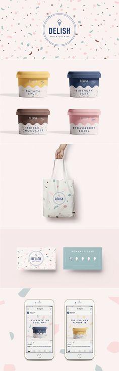 Shadow Brand - Paper Mockups : Delish holy gelato ice cream shop brand identity by Tabitha Stead Web Design, Design Logo, Brand Identity Design, Corporate Design, Label Design, Food Packaging Design, Packaging Design Inspiration, Brand Packaging, Graphic Design Inspiration