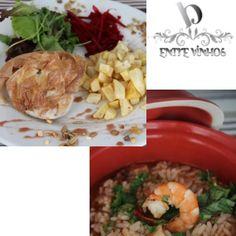 Menu do Dia 05-12-2012  Crocante de Alheira com Salada Verde e Batatinha Frita  e   Arrozinho de Polvo com Gambas