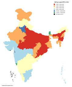 GDP per capita of Indian states in 2014 (PPP)