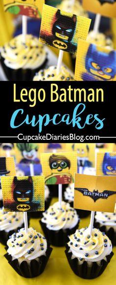 Lego Batman Cupcakes with Free Printable Toppers - Lego Batman - Ideas of Lego Batman - Lego Batman Cupcakes with Free Printable Toppers Cupcakes Batman, Lego Batman Cakes, Lego Batman Birthday, Lego Batman Party, Lego Birthday Party, Birthday Ideas, 5th Birthday, Batman Batman, Batman Stuff