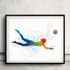 Woman beach volley ball player 01 in watercolor - Fine Art Print Glicee Poster Home Watercolor sports Gift Room Illustration Wall - SKU 2312  You can select the print quantity, size and finish of the print on the menu below the price.  The impression is made with the highest quality standards with Ultrachrome pigment inks, guaranteed highly durable prints, which are tested and guaranteed not to fade for at least 100+ years. The papers used are: Photo Paper 260 gr, and Semi-Smooth Fine Art…