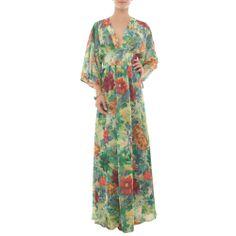Vestido longo fiori - verde