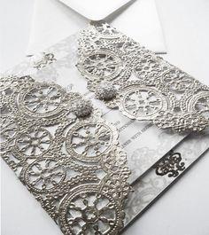 Metallic Silver Laser Cut Gatefold Wedding Invitation--Custom Silver Laser Cut Doily Wedding Invitation