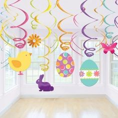 Make your Easter Party Room look pretty and fresh with hanging swirl decorations: http://www.partypieces.co.uk/easter/easter-party-themes/easter-bunny-pals-party/decorative-easter-hanging-swirl.html