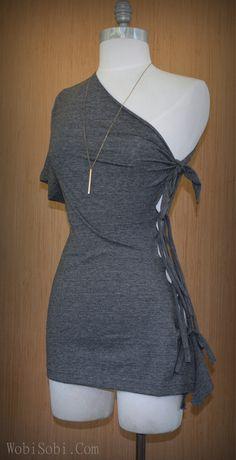 Diy shirt 574560864963157821 - WobiSobi: Multi-Tied, Side Tee: DIY Source by marietteceronio Umgestaltete Shirts, Diy Cut Shirts, T Shirt Diy, Band Shirts, Ropa Upcycling, Diy Kleidung Upcycling, Shirt Makeover, Diy Fashion, Ideias Fashion