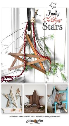 Firewood kindling star with cranberry beads / Funky Junk Interiors Christmas Home Tour 2013 via www. Christmas Time Is Here, Noel Christmas, Country Christmas, Christmas Projects, Simple Christmas, All Things Christmas, Winter Christmas, Holiday Crafts, Christmas Ornaments