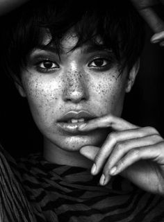 black & white | light & shade | freckles | model | beautiful woman | pose | vacant stare | perfection
