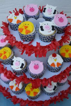 Items similar to Farm Animal Edible Cupcake Toppers Party Package Includes Stand on Etsy Farm Animal Cupcakes, Farm Animal Party, Barnyard Party, Farm Party, 2 Birthday Cake, Farm Birthday, Birthday Ideas, Cupcake Frosting Recipes, Edible Cupcake Toppers