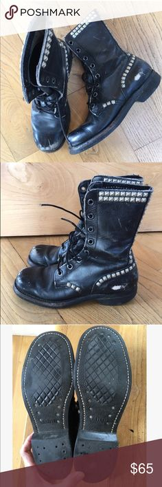 Vintage 90s Pop Punk Studded Combat Boots These are amazing and totally BA. Selling because I hardly ever wear them. I'm having trouble parting with these. They are a little thin in fit. Builtrite Shoes Combat & Moto Boots