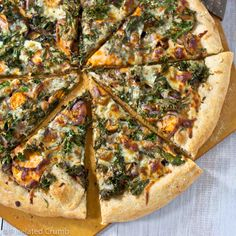 Sweet Potato and Kale Pizza. Two of my favorite health foods, atop one of my favorite not so healthy foods...YUMMM.