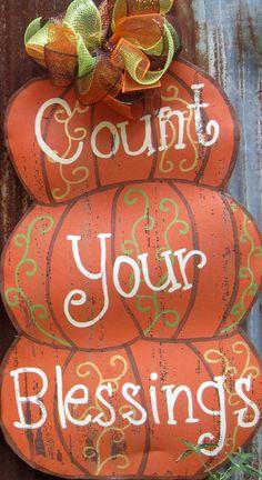 Fall Pumpkin Door Hanger by WiredupbyMellie on Etsy, $40.00