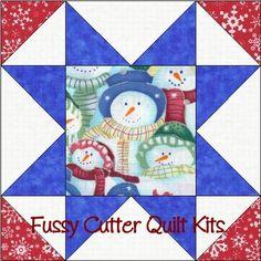 Christmas Packed Snowmen Fabric Easy Pre-Cut Quilt Blocks Kit