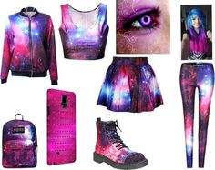 Purple Galaxy by lee-turnup on Polyvore featuring T.U.K., JanSport and Samsung