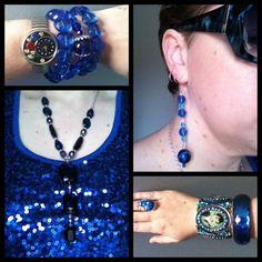 blue sequin disco ball! Top from Kmart, Jewel Divas earrings and bead bracelets