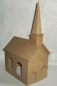Large Church with Steeple -DIY – Putz Style Cardboard Church - Diy Gift For Girls Ideen Scandinavian Christmas Ornaments, Christmas Home, Christmas Crafts, Christmas Decorations, Box Houses, Putz Houses, Paper Houses, Christmas Village Houses, Christmas Villages