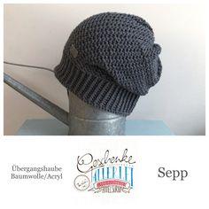 Tunella's Geschenkeallerlei präsentiert: das ist Sepp, eine geniale gehäkelte Haube/Mütze aus einer Baumwolle/Acryl-Mischung - Du kannst dich warm anziehen, dank sorgfältigem Entwurf, liebevoller Handarbeit und deinem fantastischen Geschmack wirst du umwerfend aussehen. #TunellasGeschenkeallerlei #Häkelei #drumherum #Beanie #Haube #Mütze #handgemacht #Geschenk #Sepp