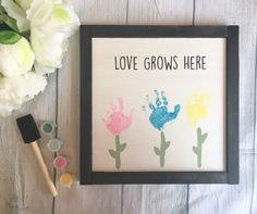 Mothers Day Crafts For Kids Discover Mothers Day Gift Mothers Day Wooden Sign Love Grows Here Sign DIY Handprint Sign Childs Handprint Sign Gifts for Mom Homemade Mothers Day Gifts, Mothers Day Gifts From Daughter, Diy Gifts For Mom, Mothers Day Crafts For Kids, Mothers Day Cards, Diy For Kids, Mother Day Gifts, Mothers Day Signs, Fathers Day Craft Toddler