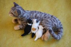 Momma Cat with kittens by rootcrop54, via Flickr. Needle felted.