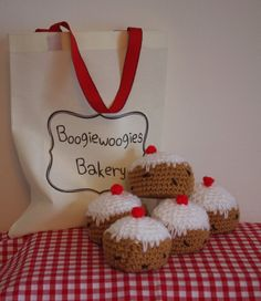 Crochet Currant Buns: 5 Currant buns in a baker's shop, personalised cotton bag, nursery rhyme prop, sing-a-long with children show & tell