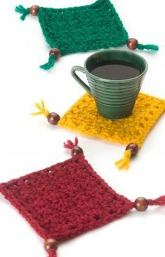 Best Free Crochet » Free Coaster Set Crochet Pattern from RedHeart.com #255 Coasters with Beads and Tassels