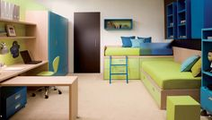 Kids Bedding With Green Bed Sheets Deep Blue Pillows Ottoman Swivel Chairs Wood Desk And Cubic Shelves In Modern Kids Room