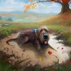 Digital artist Stephen Hanson art prints for sale, buy Stephen Hanson Toby the dog art online full UK delivery at Arthouse Gallery Animal Drawings, Art Drawings, Dog Artwork, Illustration, Buy Art Online, Dog Paintings, Whimsical Art, Art Auction, American Art