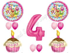 SHOPKINS 4th Birthday Girl Balloons Decoration by CandSPartySupply